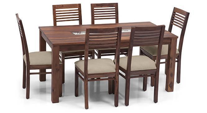 Brighton - Zella 6 Seater Dining Table Set (Teak Finish, Wheat Brown) by Urban Ladder