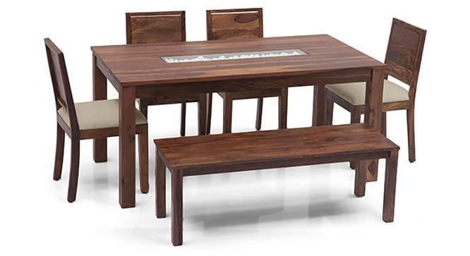 Brighton - Oribi 6 Seater Dining Table Set (With Bench) (Teak Finish, Wheat Brown) by Urban Ladder