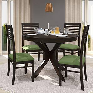 Liana - Zella 4 Seater Round Dining Table Set (Mahogany Finish, Avocado Green) by Urban Ladder