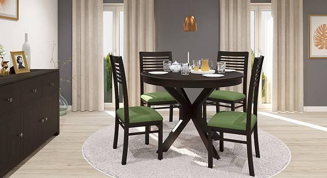 Liana - Zella 4 Seater Round Dining Table Set (Mahogany Finish, Avocado Green) by Urban Ladder