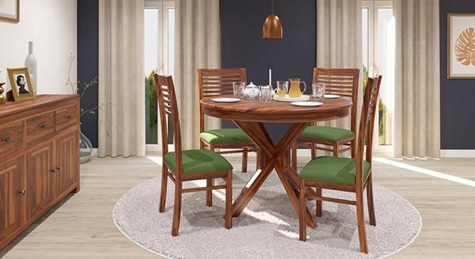 Liana - Zella 4 Seater Round Dining Table Set (Teak Finish, Avocado Green) by Urban Ladder