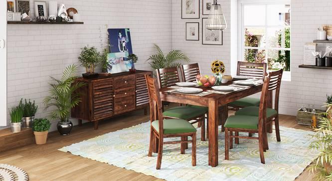 Arabia XL Storage - Zella 6 Seater Dining Table Set (Teak Finish, Avocado Green) by Urban Ladder