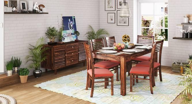 Arabia XL Storage - Zella 6 Seater Dining Table Set (Teak Finish, Burnt Orange) by Urban Ladder