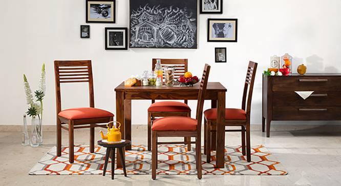 Brighton Square - Zella 4 Seater Dining Table Set (Teak Finish, Burnt Orange) by Urban Ladder