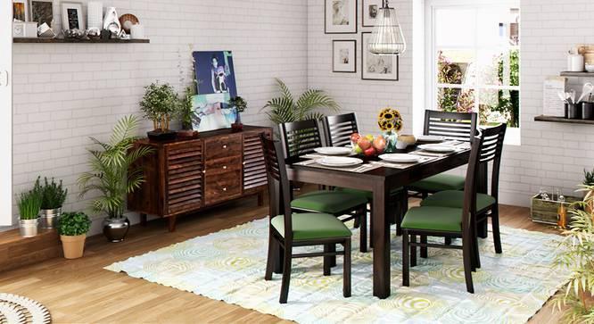 Arabia XL Storage - Zella 6 Seater Dining Table Set (Mahogany Finish, Avocado Green) by Urban Ladder