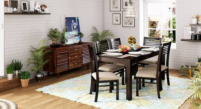 Arabia XL Storage - Zella 6 Seater Dining Table Set (Mahogany Finish, Wheat Brown) by Urban Ladder