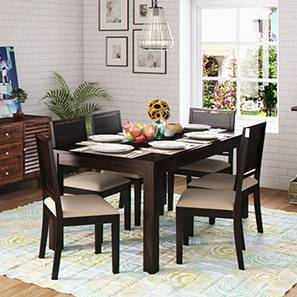 Arabia XL Storage - Oribi 6 Seater Dining Table Set (Mahogany Finish, Wheat Brown) by Urban Ladder