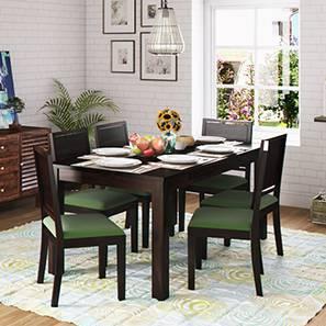 Arabia XL Storage - Oribi 6 Seater Dining Table Set (Mahogany Finish, Avocado Green) by Urban Ladder