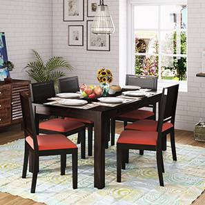 Arabia XL Storage - Oribi 6 Seater Dining Table Set (Mahogany Finish, Burnt Orange) by Urban Ladder