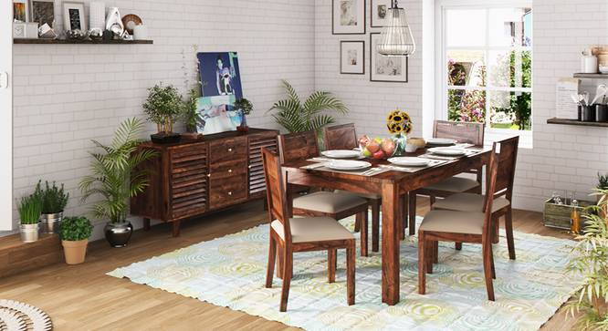 Arabia XL Storage - Oribi 6 Seater Dining Table Set (Teak Finish, Wheat Brown) by Urban Ladder