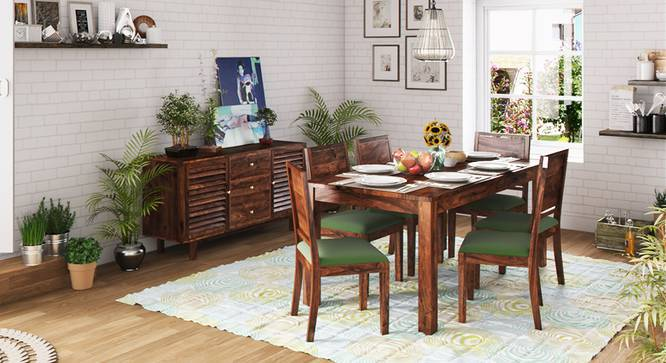 Arabia XL Storage - Oribi 6 Seater Dining Table Set (Teak Finish, Avocado Green) by Urban Ladder