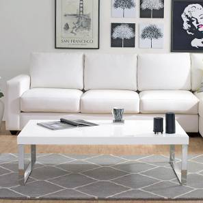 Marcel Coffee Table (White Gloss Finish, Large Size)