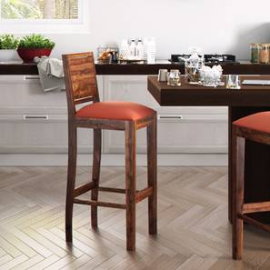 Oribi Bar Chair (Teak Finish, Burnt Orange)