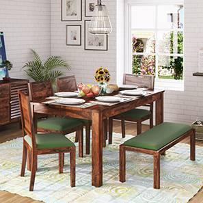 Arabia XL Storage - Oribi 6 Seater Dining Table Set (With Upholstered Bench) (Teak Finish, Avocado Green) by Urban Ladder