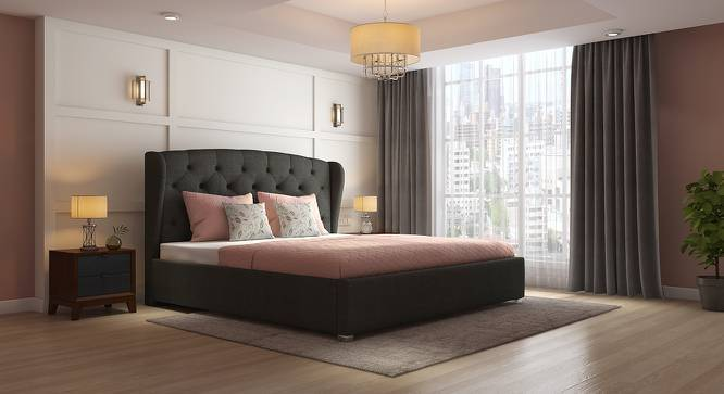 Holmebrook Upholstered Bed (Queen Bed Size, Charcoal Grey) by Urban Ladder