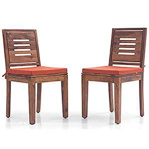 Capra Dining Chairs - Set of 2 (With Removable Cushions) (Teak Finish, Burnt Orange) by Urban Ladder