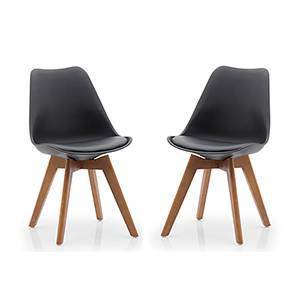 Pashe Dining Chairs - Set of 2 (Black) by Urban Ladder