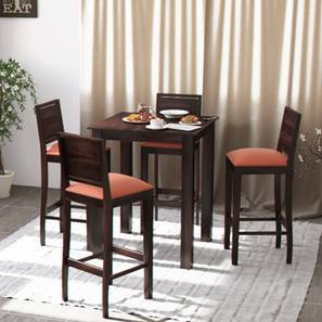 Arabia - Oribi 4 Seater High Dining Table Set (Mahogany Finish, Burnt Orange)