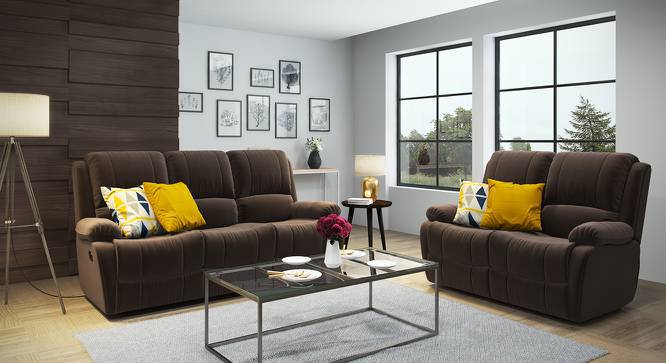 Tribbiani Three Seater Recliner Sofa (Carafe Brown Fabric) by Urban Ladder