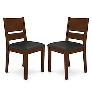 Cabalo (Leatherette) Dining Chairs - Set of 2 (Black, Dark Walnut Finish) by Urban Ladder