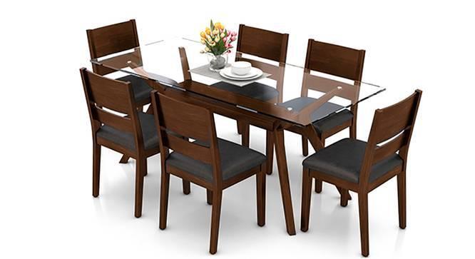 Wesley - Cabalo (Leatherette) 6 Seater Dining Table Set (Black, Dark Walnut Finish) by Urban Ladder