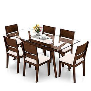 Wesley - Cabalo (Fabric) 6 Seater Dining Table Set (Beige, Dark Walnut Finish) by Urban Ladder