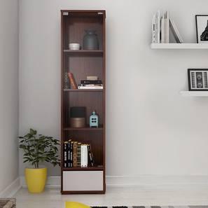 Iwaki Bookshelf With Glass Door (Walnut Finish, 1 Drawer Configuration)