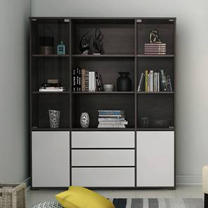 Iwaki Bookshelf With Glass Door (Dark Walnut Finish, 3 Drawer Configuration) by Urban Ladder