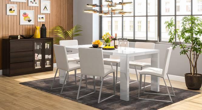Kariba - Delphine 6 Seater High Gloss Dining Table Set (White, White High Gloss Finish) by Urban Ladder