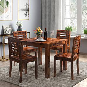 Arabia - Capra 4 Seater Storage Dining Table Set (Teak Finish)