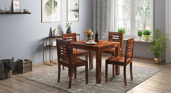 Arabia - Capra 4 Seater Storage Dining Table Set (Teak Finish) by Urban Ladder