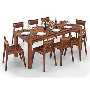 Arabia XXL - Gordon 8 Seater Dining Table Set (Teak Finish) by Urban Ladder