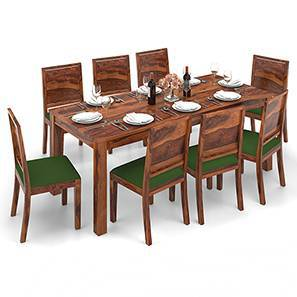 Arabia XXL - Oribi 8 Seater Dining Table Set (Teak Finish, Avocado Green) by Urban Ladder