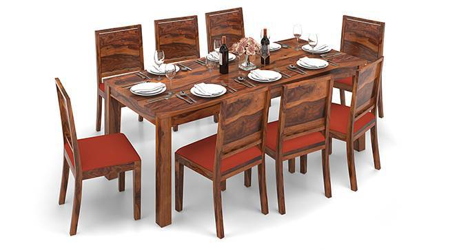 Arabia XXL - Oribi 8 Seater Dining Table Set (Teak Finish, Burnt Orange) by Urban Ladder