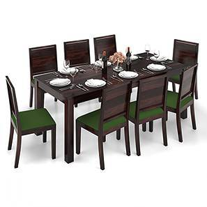 Arabia XXL - Oribi 8 Seater Dining Table Set (Mahogany Finish, Avocado Green) by Urban Ladder