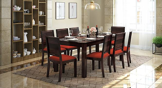 Arabia XXL - Oribi 8 Seater Dining Table Set (Mahogany Finish, Burnt Orange) by Urban Ladder