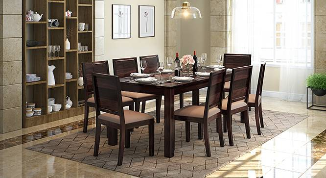 Arabia XXL - Oribi 8 Seater Dining Table Set (Mahogany Finish, Wheat Brown) by Urban Ladder
