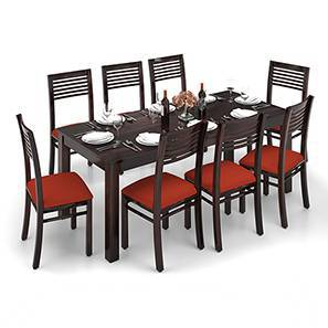 Arabia XXL - Zella 8 Seater Dining Table Set (Mahogany Finish, Burnt Orange) by Urban Ladder