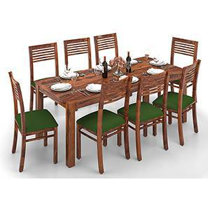 Arabia XXL - Zella 8 Seater Dining Table Set (Teak Finish, Avocado Green) by Urban Ladder