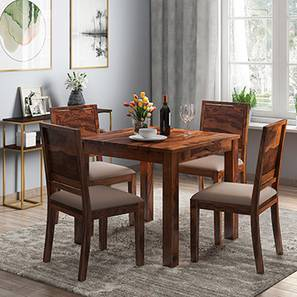 Arabia - Oribi 4 Seater Storage Dining Table Set (Teak Finish, Wheat Brown)