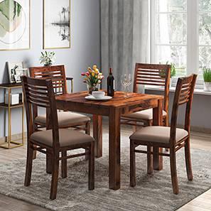 Arabia - Zella 4 Seater Storage Dining Table Set (Teak Finish, Wheat Brown)