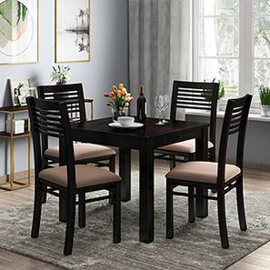 Arabia - Zella 4 Seater Storage Dining Table Set (Mahogany Finish, Wheat Brown) by Urban Ladder