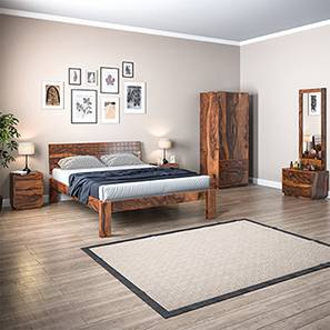 Valencia Complete Bedroom Set (Teak Finish, Queen Bed Size) by Urban Ladder