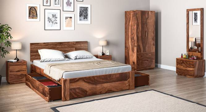 Boston Complete Storage Bedroom Set (Teak Finish, Queen Bed Size) by Urban Ladder