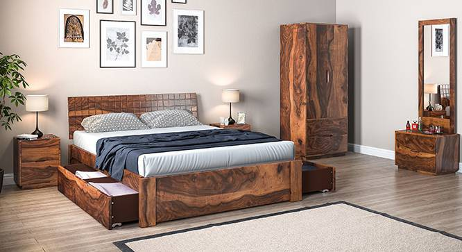 Valencia Complete Storage Bedroom Set (Teak Finish, King Bed Size) by Urban Ladder