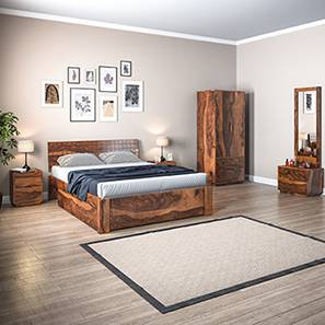 Valencia Complete Storage Bedroom Set (Teak Finish, Queen Bed Size) by Urban Ladder