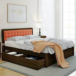 Florence Storage Bed (Mahogany Finish, King Bed Size, Lava) by Urban Ladder