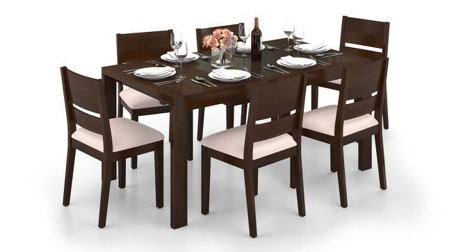 Vanalen 4 to 6 Extendable - Cabalo (Fabric) 6 Seater Glass Top Dining Table Set (Beige, Dark Walnut Finish) by Urban Ladder