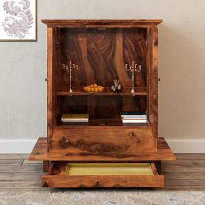 Devoto Prayer Cabinet (Teak Finish, With Drawer Configuration)