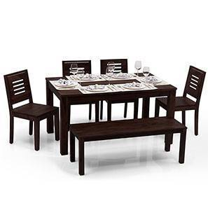 Arabia - Capra 6 Seater Dining Table Set (With Bench) (Mahogany Finish)